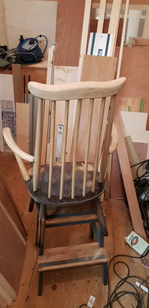 Ercol rocking chair in the sanding process