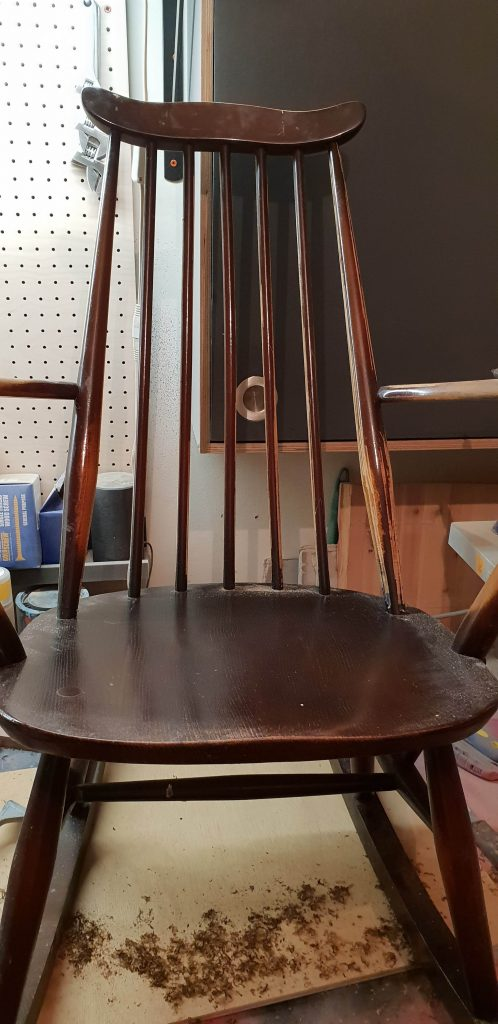 Brown high gloss painted old Ercol Rocking Chair