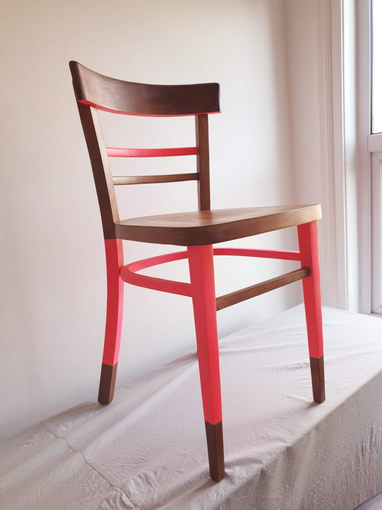 fluorescent pink vintage dining chair